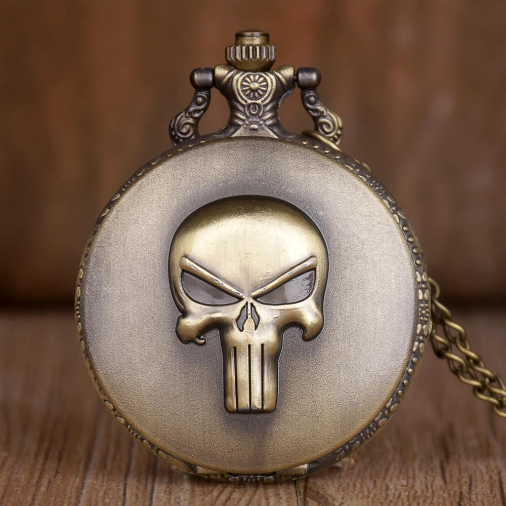 Anime Punisher Skull Pocket Watch Retro Quartz Analog Necklace Watch & Fob Chain Accessories Gifts Full Metal Hours Clock Men