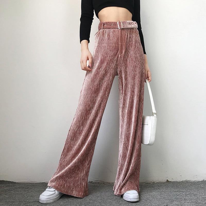 Pink Velvet Pleated   Wide  -  leg     Pants   Women Autumn Winter Elastic Waist Trousers Casual   Wide     Leg     Pants   Loose Trousers Free Belt