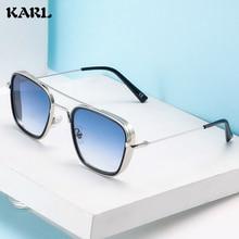 Vintage Square Sunglasses Man Steampunk Sun Glasses Brand Designer New Tony Stark  Metal UV400 Shades for Men Classic