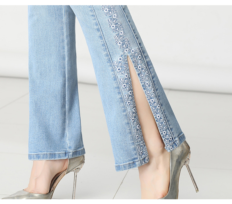 KSTUN FERZIGE Jeans Women Ligh Blue Boot Cut Embroidered Flared Pants High Waist Stretch Long Trousers Mom Jeans Push Up Big Size 36 18