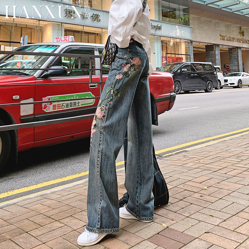 Free Shipping 2020 New Fashion Long Pants For Women Embroidery Flower Trousers Plus Size Denim Wide Leg Jeans Size 25-31 Autumn