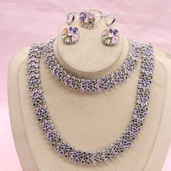 925 Silver Jewelry Sets For Women Multi Color Zircon Earrings Bracelet Pendant Necklace Ring Wedding Jewelry Gift Box 925 silver jewelry white australian crystal jewelry sets for women wedding bracelets necklace pendant earrings ring
