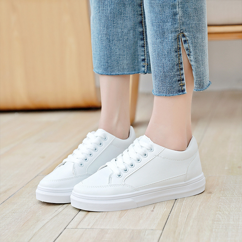 2019 New Korean Style Ladies Off White Sneakers Basic Flat Women Sneakers Ins Lovers All match Basket Femme Tennis Shoes KZ001 in Women 39 s Vulcanize Shoes from Shoes