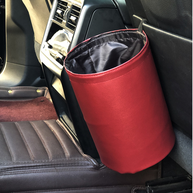 New Leather Trash Bin Car Supplies Car Multifunctional Mini Folding Trash Bin Waterproof