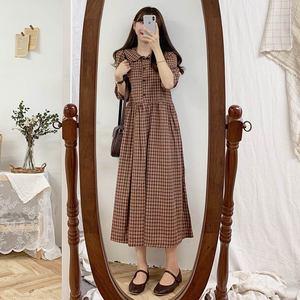 Image 2 - コットンヴィンテージドレス女性新カジュアルかわいいスウィートプレッピースタイル韓国日本 A ラインピーターパン襟格子縞のシャツドレス 9012