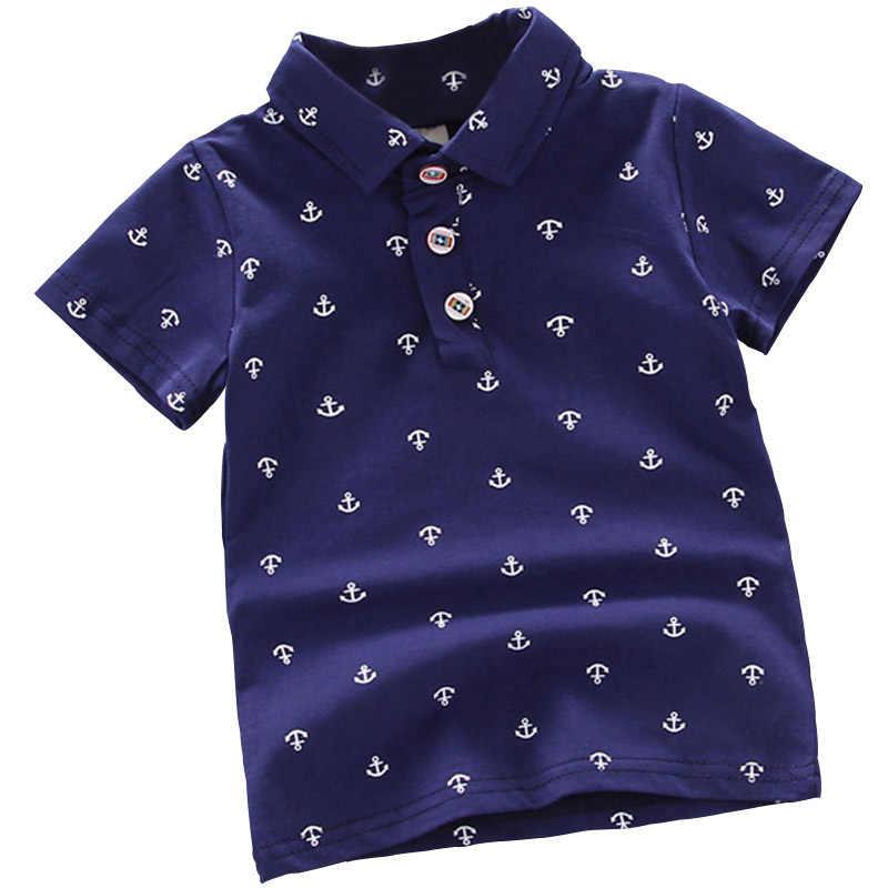 Letnia koszulka Polo dla niemowląt chłopcy z krótkim rękawem dla dziewczyny klapy ubrania dla dzieci bawełna drukuj oddychające topy odzież dziecięca YQJM01
