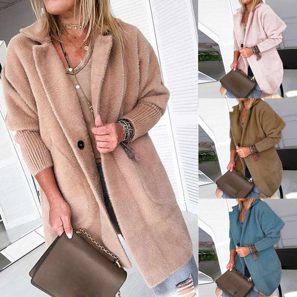 Womens Outerwear Coats Ladies Warm Coat Jacket Lapel Winter Long Outerwear Tops Fashion Female Casual Jacket Tops M840#