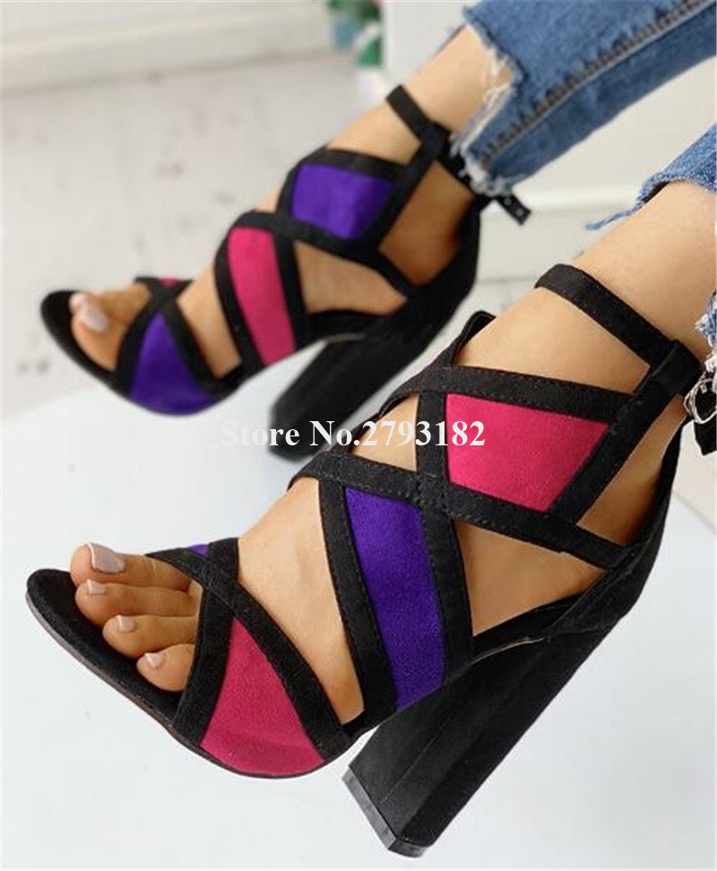 New Design Women Fashion Open Toe Patchwork Chunky Heel Sandals Cut-out Mixed-colors Thick High Heel Sandals Dress Heels
