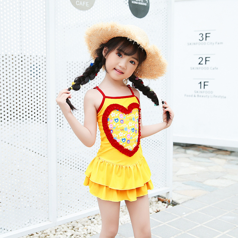 Korean-style KID'S Swimwear Korean-style Siamese Swimsuit Camisole Pleated Skirt Beach Hot Springs Play With Water Service Breat