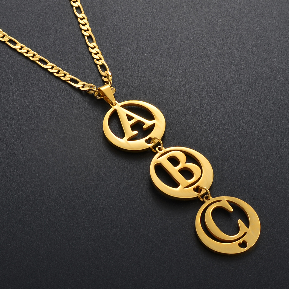 Anniyo Personalized Letters Necklace Alphabet Pendant Women Girls Mother Customize Initial Jewelry Custom Wedding Gifts #142621
