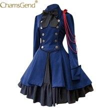 Mujeres chicas Anime japonés Vintage gótico Lolita vestido Cosplay traje Bowknot manga larga de talla grande vestidos y ropa S-5XL 912