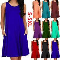 Frauen Casual Sommer Kleid Plus Größe Oansatz Tank Top Lose Kleidung Seite Tasche Mode Sexy Damen Solide Ärmellose Kleider 5XL