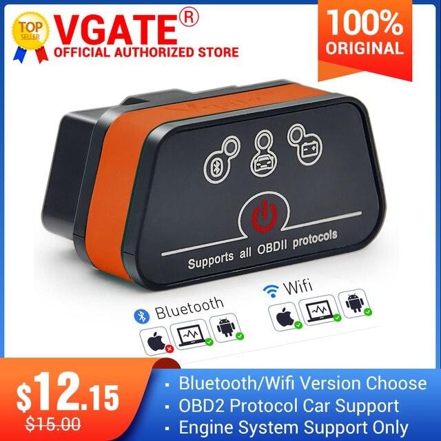 Vgate ICar2 ELM327 obd2 Bluetooth scanner elm 327 V2.1 obd 2 wi fi icar 2 auto scanner de diagnóstico para android / computador / IOS leitor de código