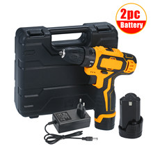 Portable Cordless Electric Drill Torque Impact Drill with 6A Li-ion Battery 2 Variable Speed 3/8-inch Keyless Chuck(China)