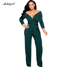 цена на Sexy Wrap V Neck Jumpsuit Women Vintage European Palace Shoulder Wide Leg Pants Rompers Elegant Office Lady Lace Up Overalls