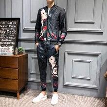 Loldeal Clothing Ropa Hombre De Marca Designer Print Tracksuit Men Girl Face Print Jogginganzug Herren (Jacket+sweatpant)
