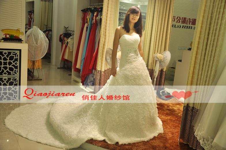 Free Shipping 2016 Arrival Fashion Princess Train Bride Custom Made Sweetheart Cathedral Wedding Gowns Large Size Wedding Dress
