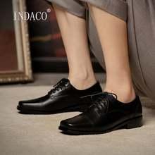 Туфли женские на толстом каблуке модная кожаная обувь плоская