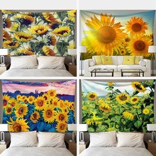 Sunflower Floral Print Tapestry Wall Hanging Smile Sun Sky Tapestry Decorative Blanket Fabric Country Style Bedroom Bed Sheet moonnight meteor fabric decorative wall tapestry