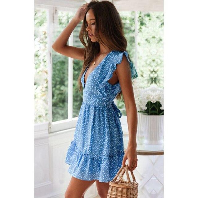 Летнее новое женское платье, модное сексуальное пляжное платье с v-образным вырезом и цветочным принтом в стиле бохо, короткое платье с оборками на талии 3