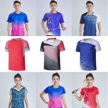 Szybko suche koszulki do badmintona męskie koszulki tenisowe koszulki pingpongowe damskie zestawy PingPong damskie koszulki do tenisa stołowego tanie i dobre opinie NoEnName_Null Poliester Krótki Anty-pilling Anti-shrink Oddychająca Szybkie suche Koszule Pasuje większy niż zwykle proszę sprawdzić ten sklep jest dobór informacji