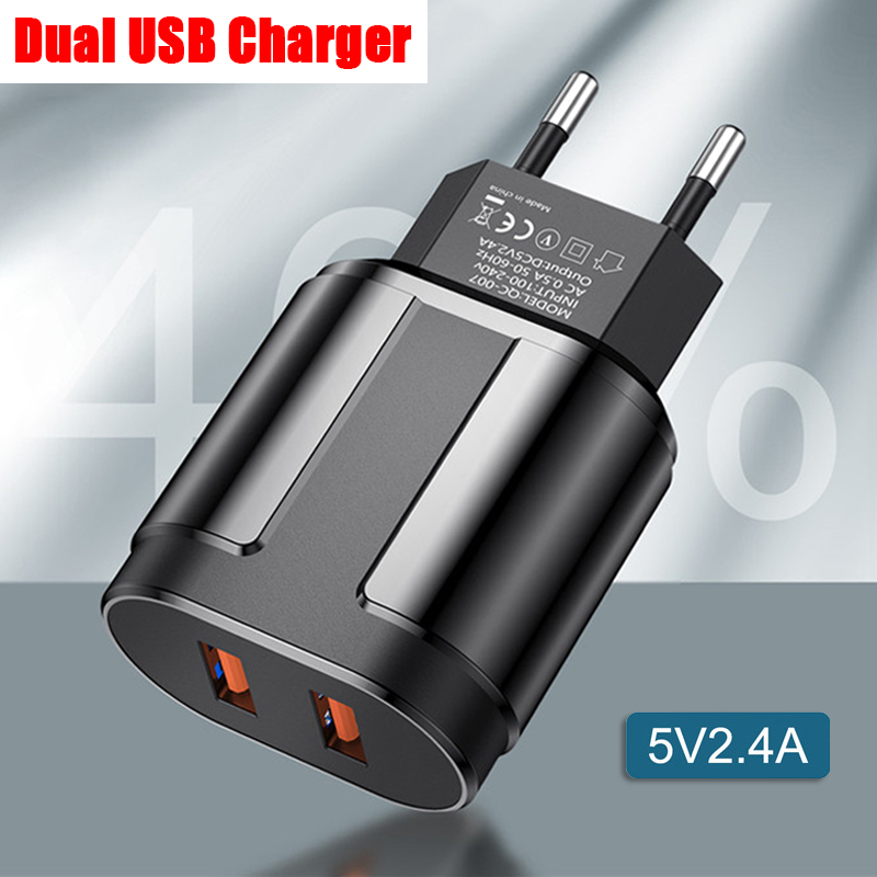 2.4A Dual USB Mobile Phone Charger for iPhone <font><b>8</b></font> X SE 11 iPad Samsung J6 7 Huawei Android Smartphones Tablets Bluetooth Earphones image