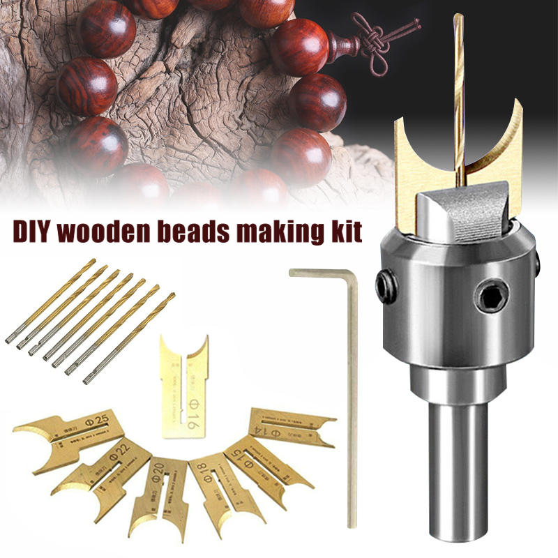Hot Durable Wooden Bead Maker Beads Drill Bit Milling Cutter Set Woodworking Tool Kit D6