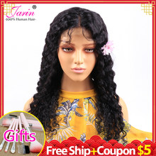 Deep Wave Lace Closure Human Hair Wigs Remy 150% Brazilian 4x4 Lace Front Wig Lace Closure Wigs With Baby Hair 100% Human Hair(China)