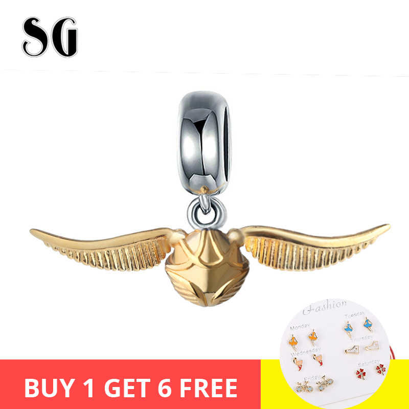 SG Hot Sale 100% 925 Sterling silver Cute beads Golden Snitch Charms Fit Authentic pandora Bracelets for Women DIY Jewelry