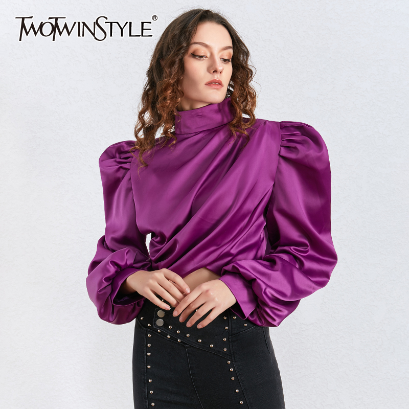 TWOTWINSTYLE Sexy Asymmetrical Blouses For Female Turtleneck Lantern Long Sleeve Short Ruched Shirts Women Fashion 2020 Clothing