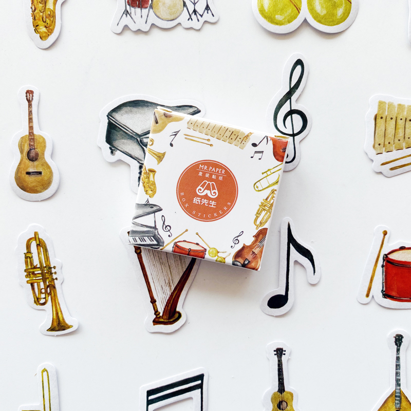 40pcs/Pack Musical Instrument Paper Stickers DIY Decorative Stick Label