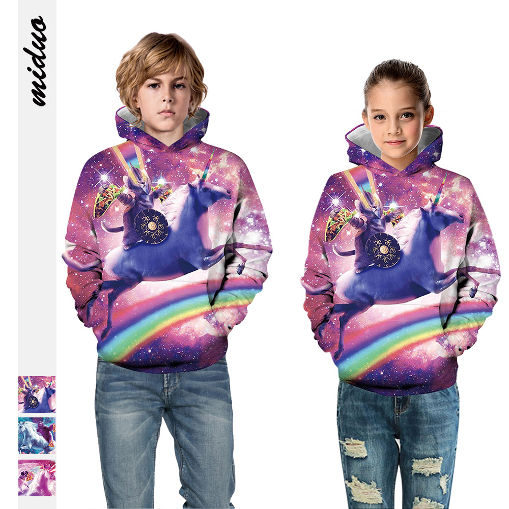 Hot Selling Unicorn Digital Printing CHILDREN'S Sweater Europe And America Large Size Men And Women Celebrity Style Hooded Sweat