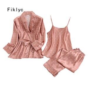 Image 1 - Fiklyc roupa interior de três peças feminino dot cetim pijamas define manga longa outono calças compridas pijamas conjuntos feminino sexy nightwear
