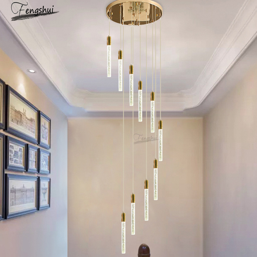 Modern LED Luxury Crystal Strip Lamp Villa Hotel Loft Duplex Chandelier Restaurant Staircase Lights Decor Nordic Light Fixtures