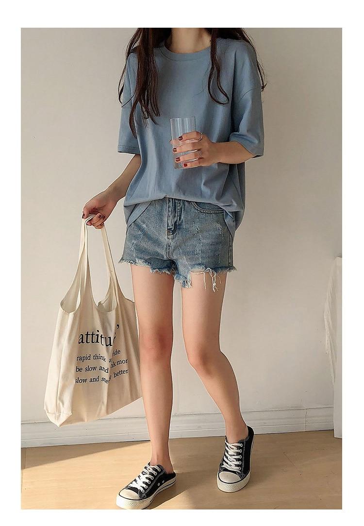 H36f34ebaee004a44a924d00e61fa7572O - Summer O-Neck Short Sleeves Minimalist Loose Basic T-Shirt