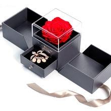 Novo design de moda senhoras simples borda flor rosa anel caixa casamento anel caixa de jóias para dia dos namorados dia das mães presente