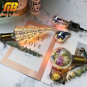 Image 1 - Diodo emissor de luz 3d estereoscópico novidade lâmpada 85 220 v e27 fogos de artifício prata chapeado interior decoração de natal lâmpada a60 st64 g80 g95g125