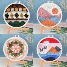 1 conjunto de venda quente punch agulha bordado kit com agulha para iniciantes diy fácil bordado bordado bordado bordado bordado trabalho de lã decoração para casa