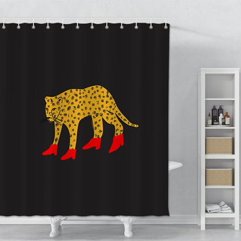 Creative Shower Curtain Printed Leopard Waterproof Bathroom Shower Curtain Home Decor Polyester Bath Shower Curtain With Hooks