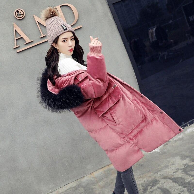 2020 Women's Winter Down Jacket Long Coat Women Big Fur Collar Fashion Warm Jackets For Women Chamarras De Mujer KJ731