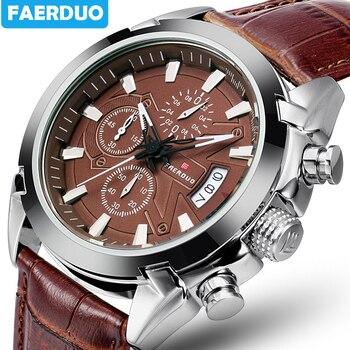 Коричневые новые часы мужские модные спортивные кварцевые мужские часы, наручные часы брендовые роскошные кожаные деловые водонепроницае...