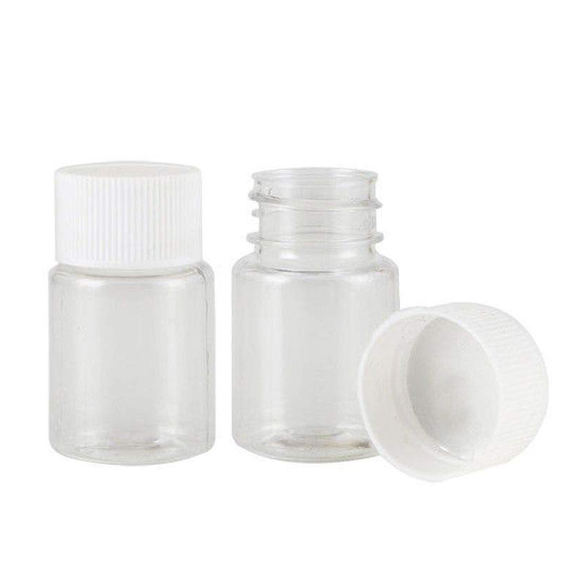 10PCS Plastic PET Clear Empty Seal Bottles 15ml 20ml 30ml Solid Powder Medicine Pill Chemical Container Reagent Vials