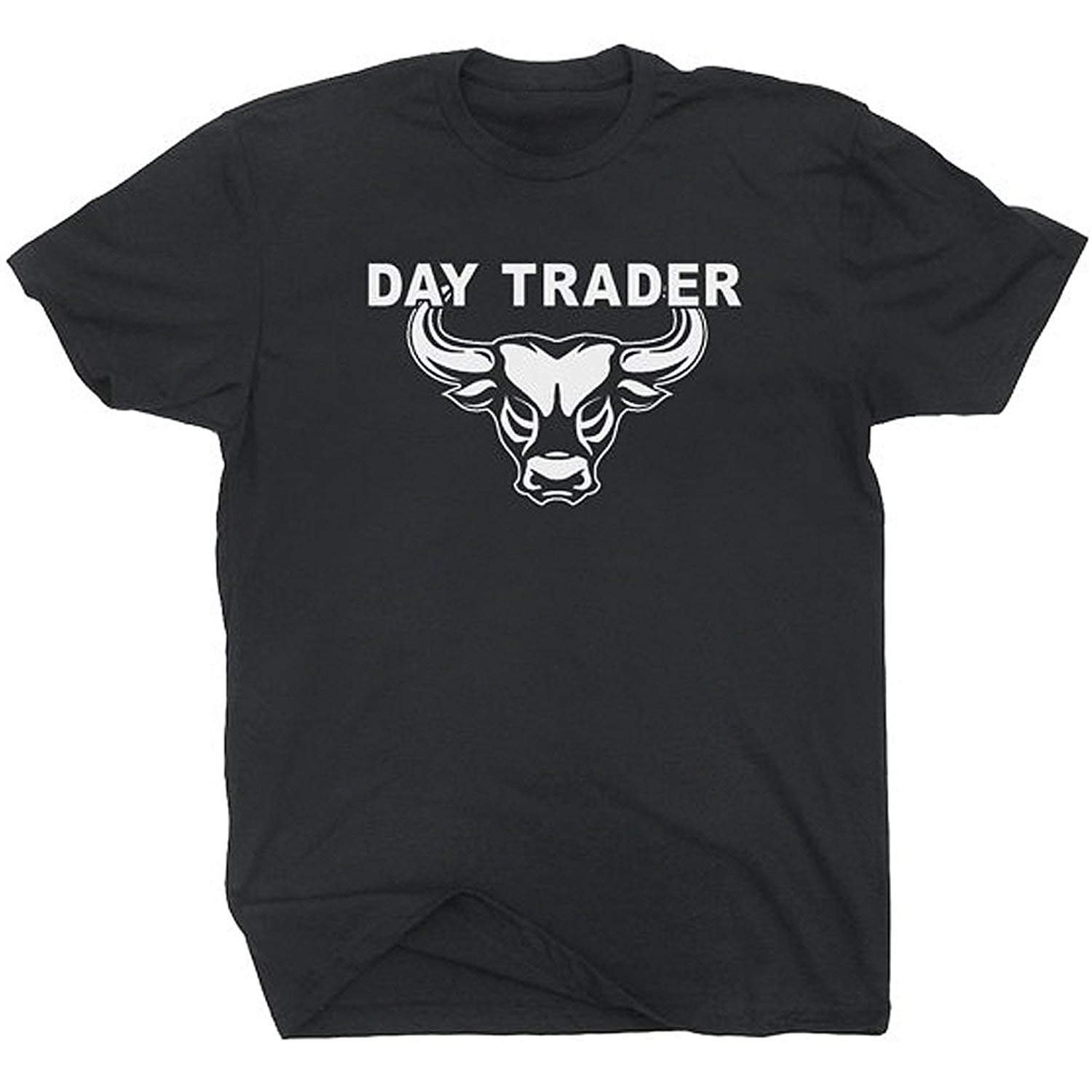Adult Tshirt L Day Trader T Shirt Wall Street Mad Stock Market Trading Cramer Money Tee Bull Bear Jim Unisex Tees image