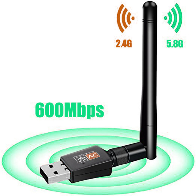 802.11AC Dual Band 600Mbps Wireless USB Wifi Adapter Dongle support Windows Mac 2.4GHz/5GHz 2DBi Antenna for desktop laptop PC
