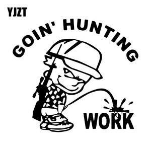 YJZT 16.5CM*14.8CM Sportsman Piss Work Hunting Window Bumper Decal Plant Cartoon Car Sticker C31-0338(China)