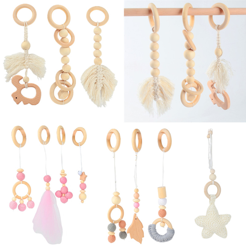BPA Free Wooden Baby Gym Toys Baby Stroller Hanging Pendants  Newborn Play Activity Gym Frame Hanging Rattle Toys Teething Ring
