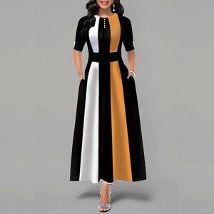 Retro Women Striped Dress Ladies Long Maxi Dress Office Lady 3/4 Sleeve High Waist Long Dress Classic Female Fit and Flare Dress