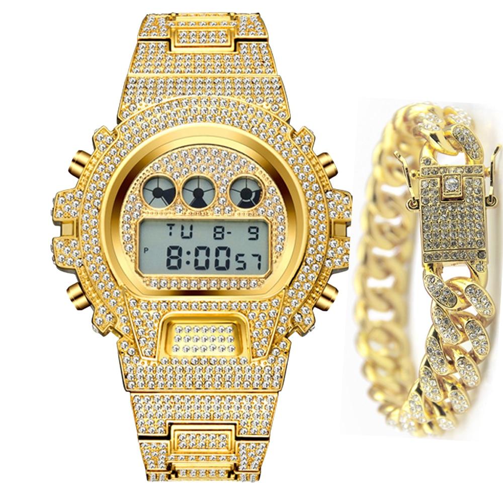 Men 18k Gold Watch Digital LED Sports Watches ICED Out Diamond Wristwatches Man Hip Hop Bracelet Waterproof Relogio Masculino