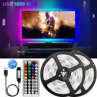 Bluetooth tira de luz LED USB Lámpara Flexible cinta diodo SMD 5050 DC 5V TikTok luces iluminación de fondo de TV 44K controlador