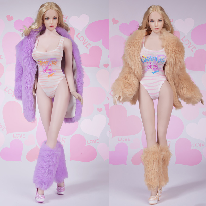 <font><b>1/6</b></font> Scale Female Soldier <font><b>Sex</b></font> Fur Down Jackets Coat Swimsuit Leggings Shoes set for 12in action <font><b>figure</b></font> Phicen Accessories Toy image